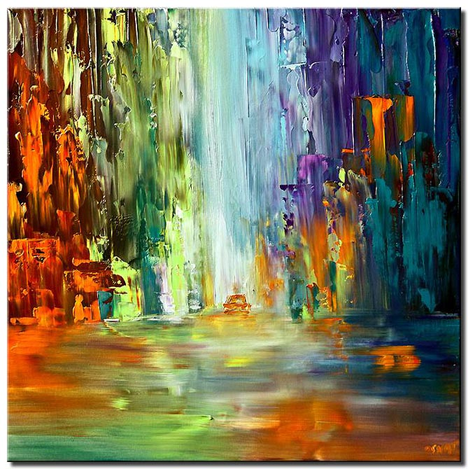 colorful abstract cityscape large painting art