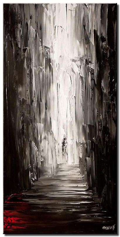 vertical painting of an alley in black and white