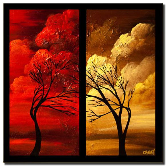 trees red yellow border clouds sun