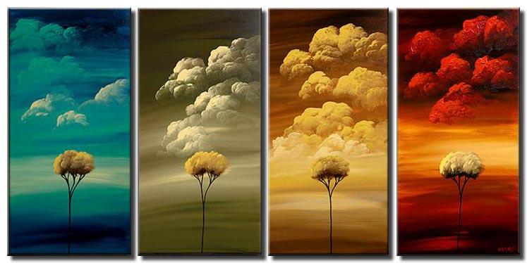 multi panel painting of trees and colorful clouds