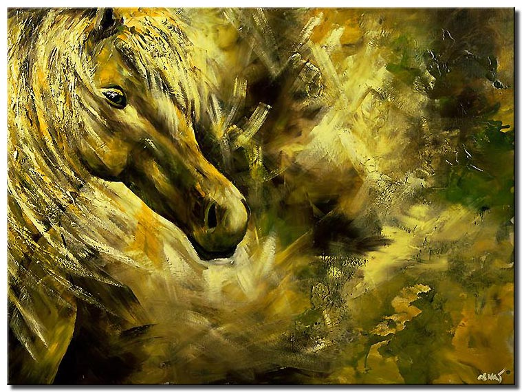 horse head in green yellow tones