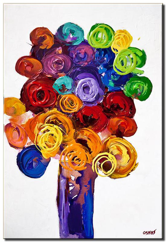 vase with colorful flowers on white background