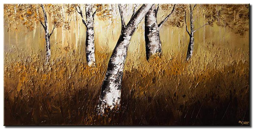 birch trees in brown background