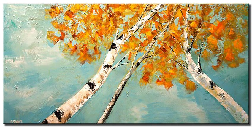 textured painting of birch trees