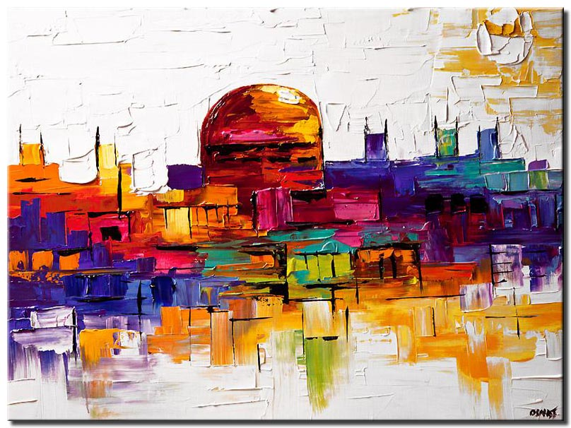 colorful painting of jerusalem golden dome