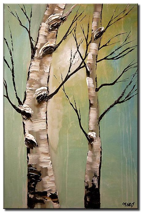 painting of two birch trees together