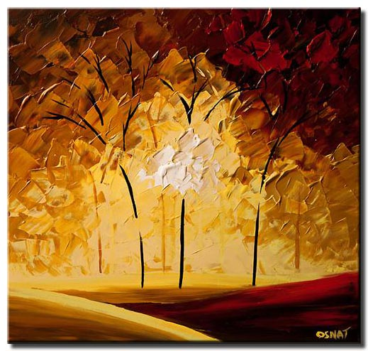 abstract red and yellow forest painting