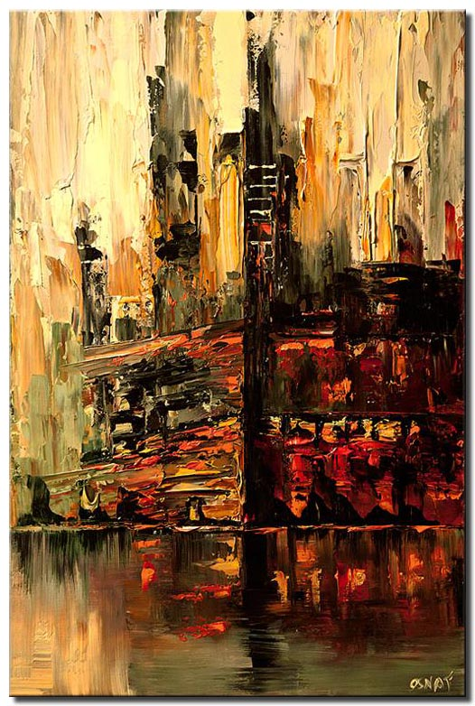abstract cityscape in red