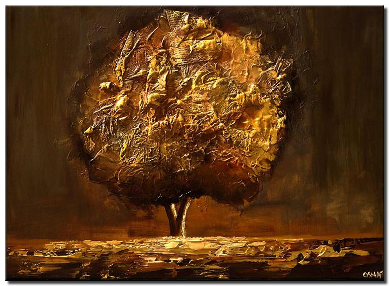 gold brown tree painting