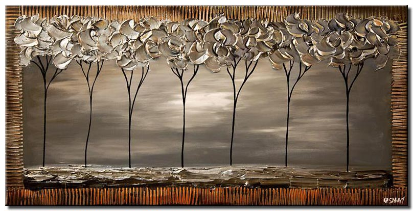 painting of seven gray trees in a row
