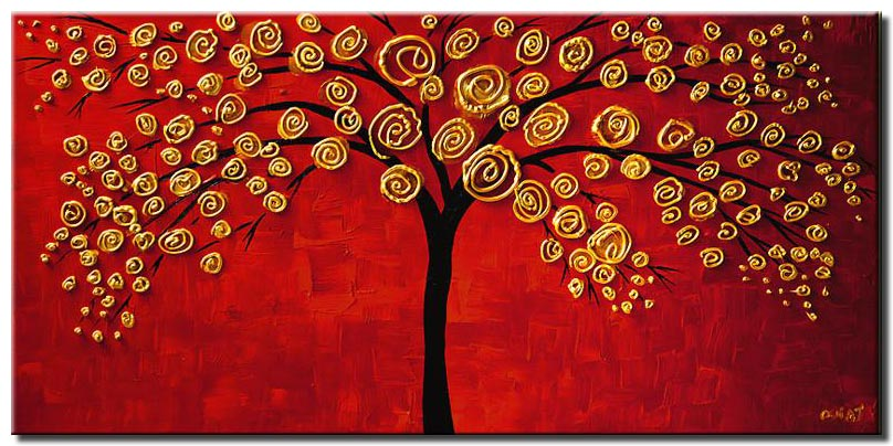golden tree on red background painting