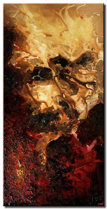 textured painting red abstract art