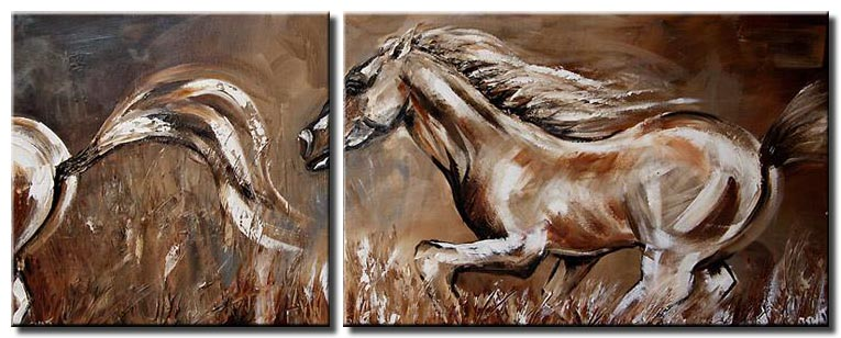 diptych painting of horses running