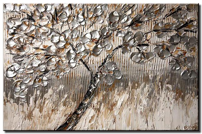 tree painting with silver leaves