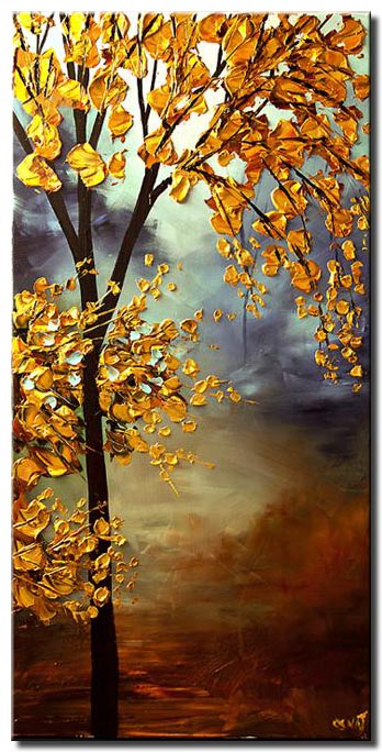 vertical blooming golden tree painting