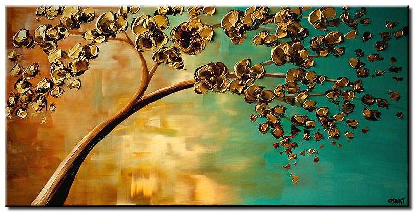 yellow flowering tree painting