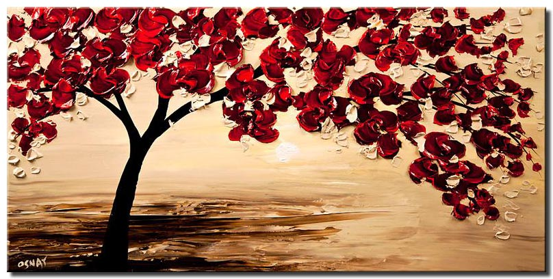 painting of red tree blooming