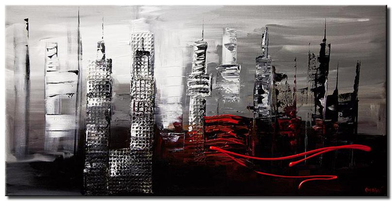 abstract cityscape in gray and black