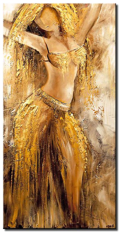 painting of belly dancer in red
