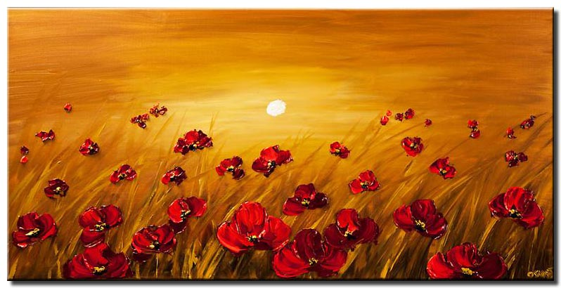 a field of poppy flowers on a sunrise background