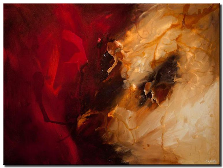 Large red abstract painting
