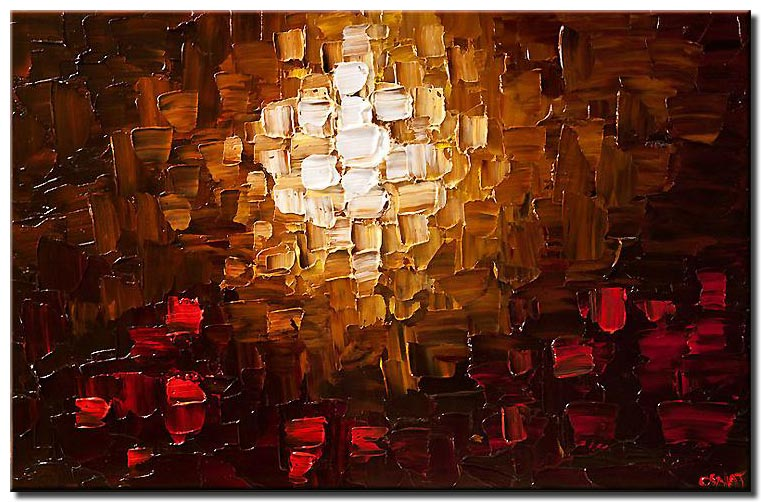 modern abstract painting in brown