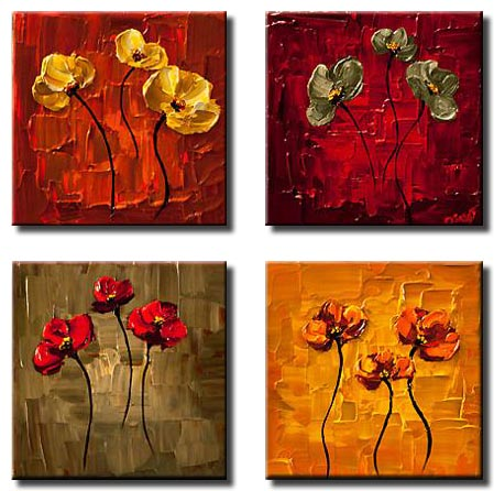 multi panel small floral paintings