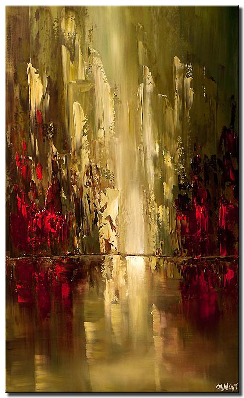 Abstract City Painting In Olive and Red