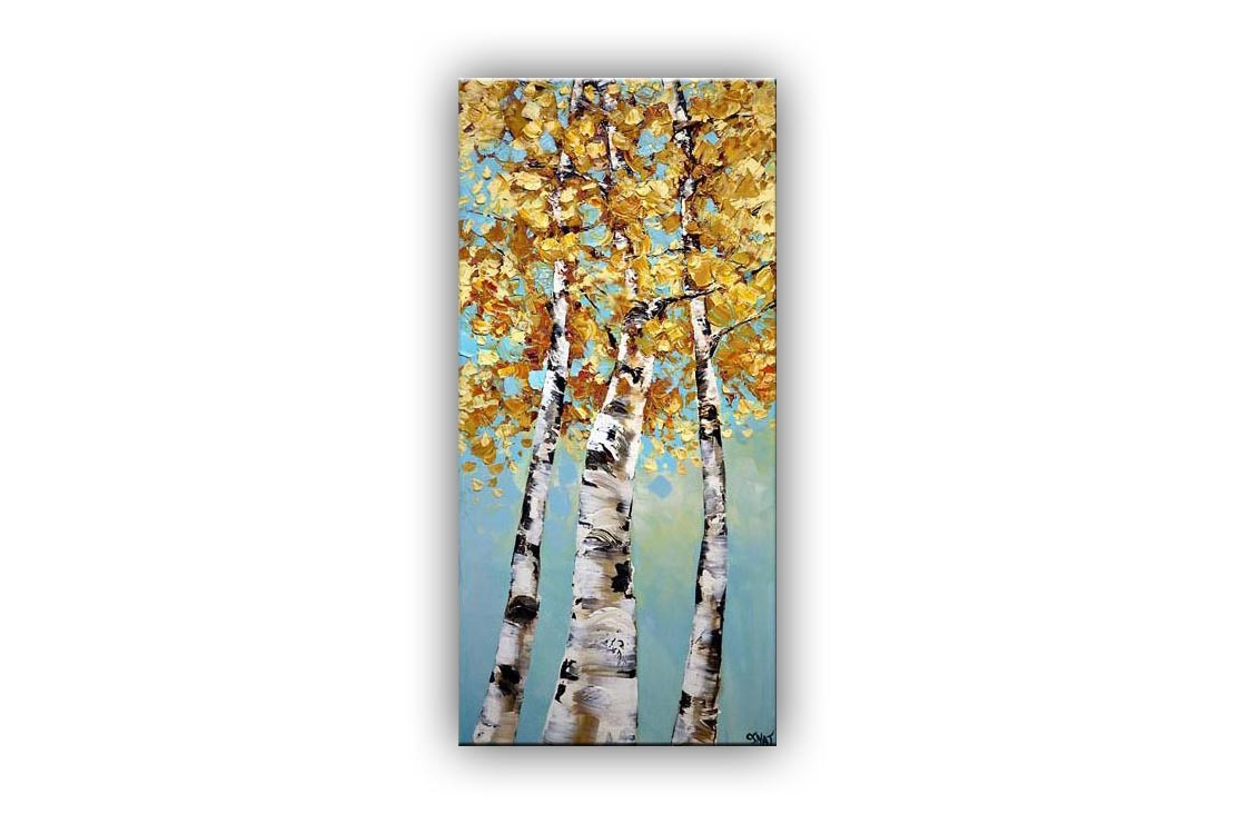 Birch Trees Abstract Landscape Palette Knife