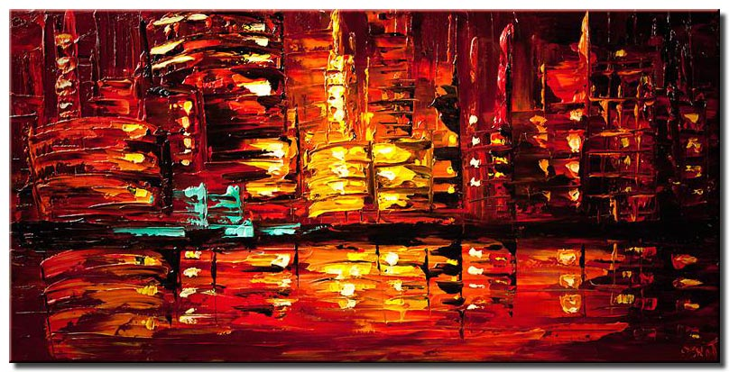Red Abstract City Painting Modern Palette Knife
