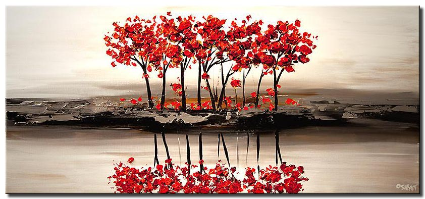 red blooming trees on white textured landscape painting