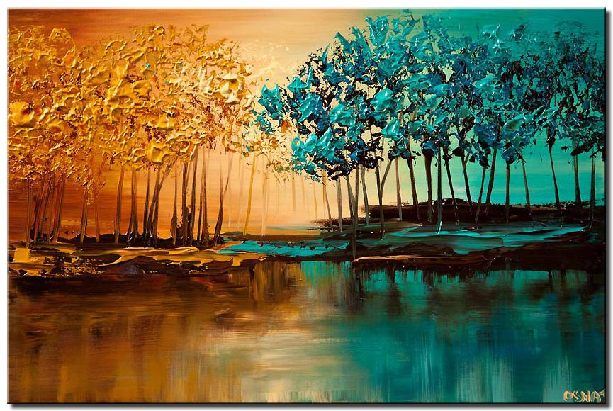 modern landscape textured blooming trees painting