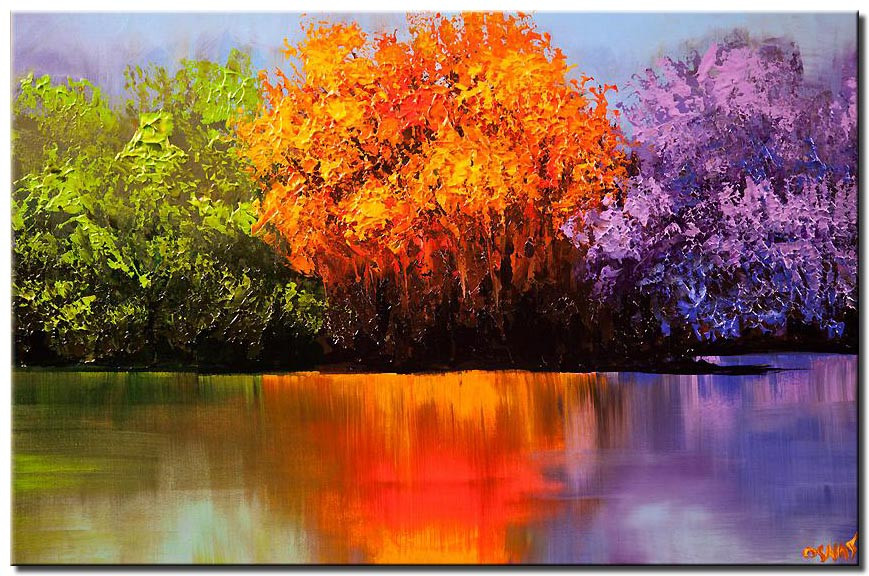 colorful landscape painting blooming trees on a lake