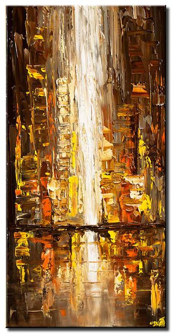 city lights abstract modern palette knife