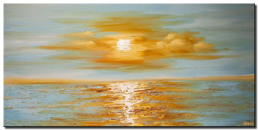 modern palette knife abstract sea sunrise