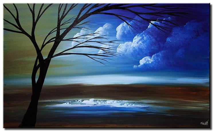 green blue landscape tree painting