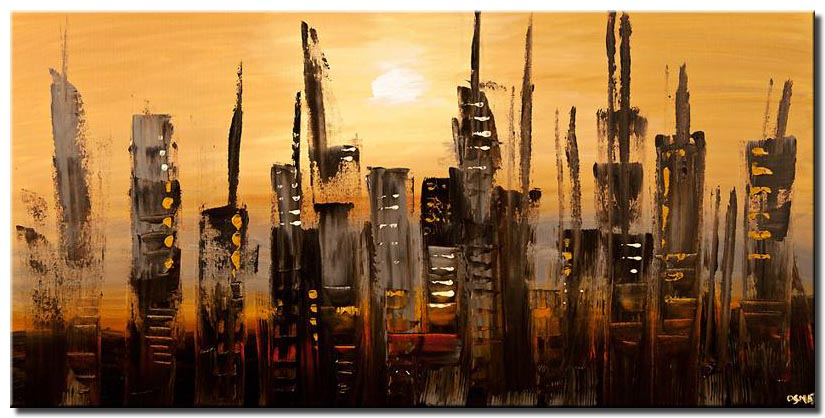 abstract skyscrapers city painting