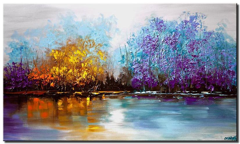 lake view landscape painting palette knife