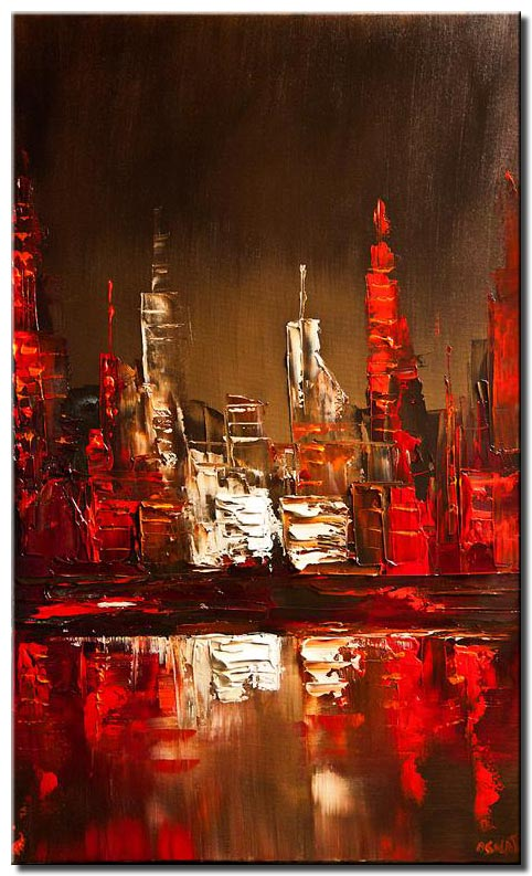 abstract city painting skyline palette knife