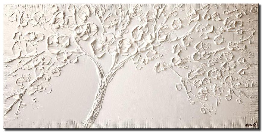 white blooming tree modern palette knife