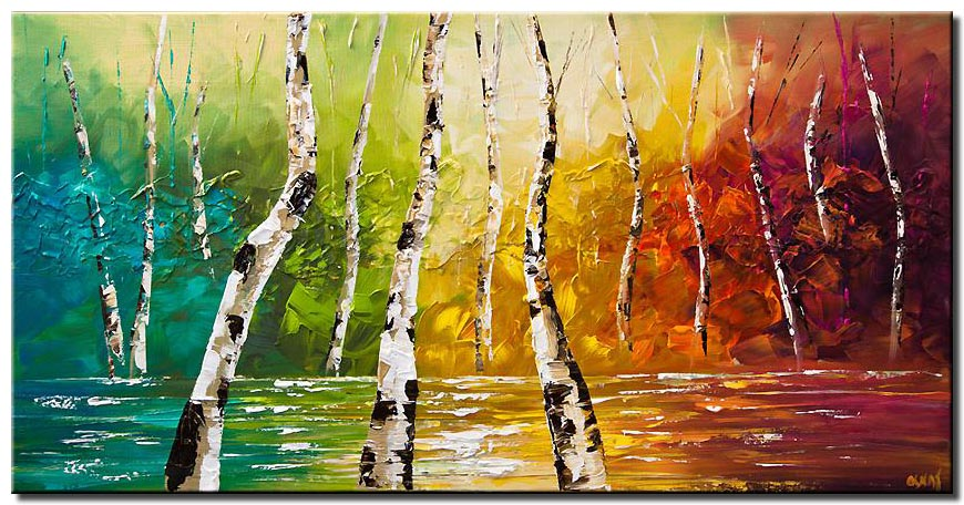 colorful landscape birch trees palette knife