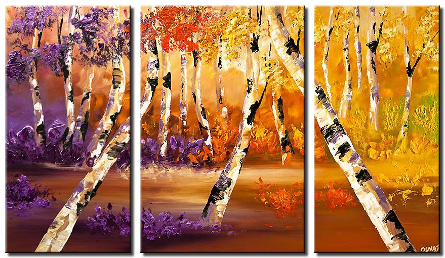 birch tree painting abstract landscape palette knife