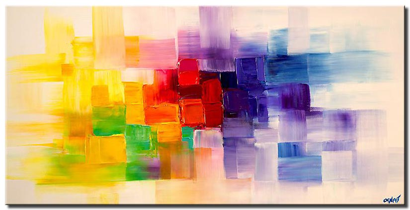 colorful modern abstract palette knife textured