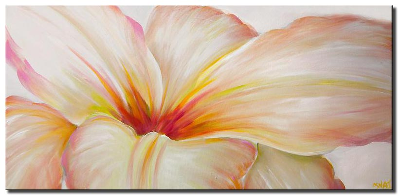 white flower modern contemporary abstract  floral painting