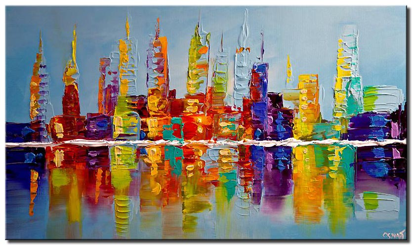 modern city skyline colorful abstract painting texture palette knife