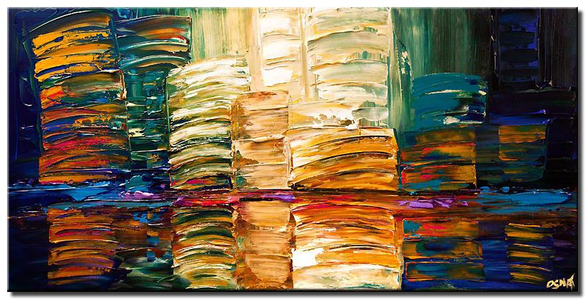 city painting colorful abstract art modern palette knife