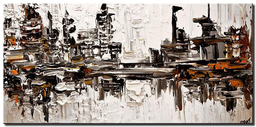 modern texture city painting contemporary abstract