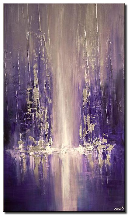 modern city painting blue purple palette knife
