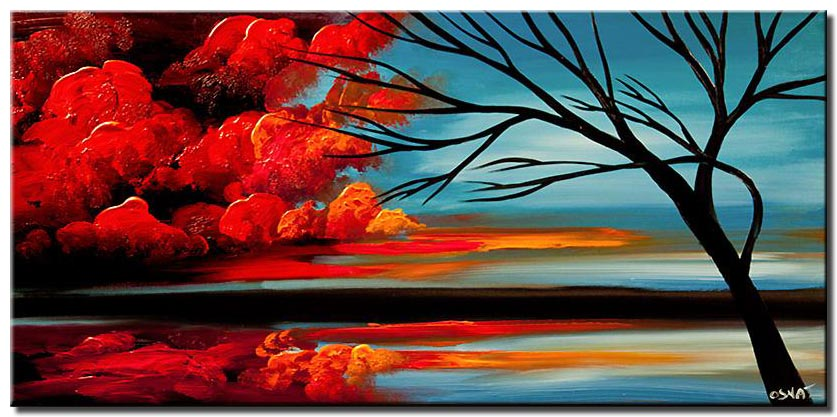 red clouds abstract landscape painting