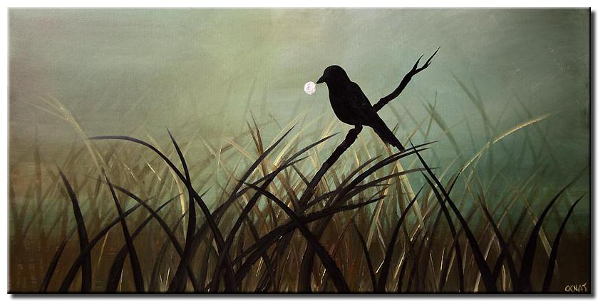 bird on a branch modern abstract painting
